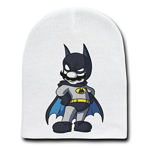 Main Caped Billionaire Hero Bat Super Hero Parody - White Adult Beanie Skull Cap Hat