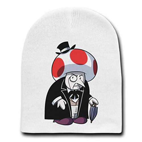Short Fat Mobster Villain Bat Super Hero Parody - White Adult Beanie Skull Cap Hat