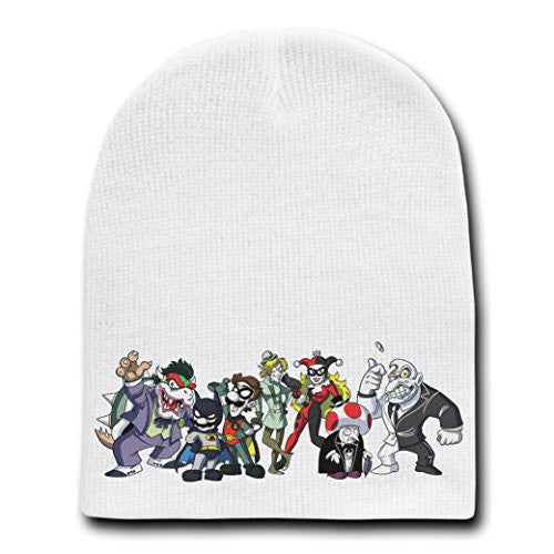 Heroes & Villains Video Game Super Hero Parody - White Adult Beanie Skull Cap Hat