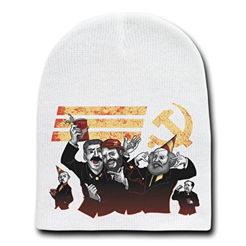 'Communist Party' Funny Pun Communist Leaders Party - White Adult Beanie Skull Cap Hat