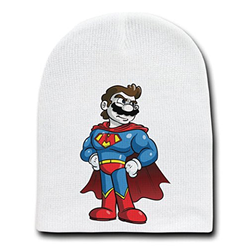 'Plumbers League of America' Funny Super Hero Team Parody - White Adult Beanie Skull Cap Hat