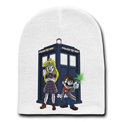 Group w/ Public Call Box Doctor Parody - White Adult Beanie Skull Cap Hat