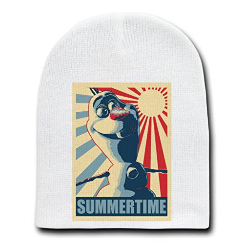 'SUMMERTIME' Funny Singing Snowman Movie Parody - White Adult Beanie Skull Cap Hat