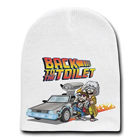 'Back To The Toilet' Funny Movie Parody - White Adult Beanie Skull Cap Hat