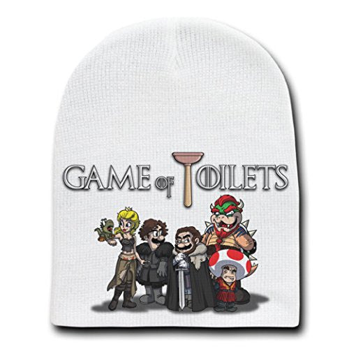 'Game of Toilets' Funny TV Show Parody - White Adult Beanie Skull Cap Hat