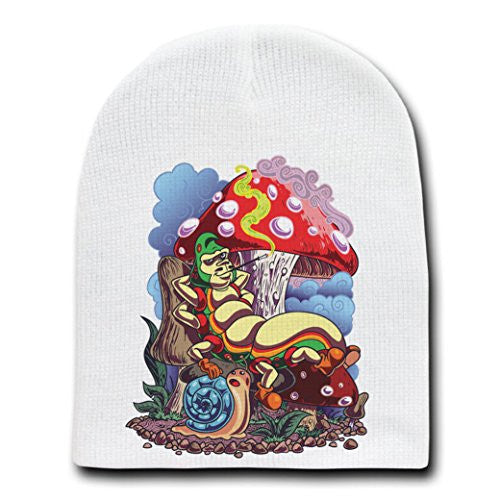'Smoking Caterpillar' w/ Pet Snail & Mushrooms - White Adult Beanie Skull Cap Hat