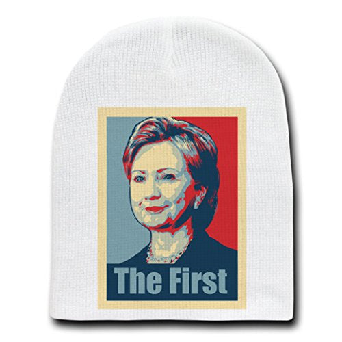 'Hillary Clinton the First' Political Poster Style - White Adult Beanie Skull Cap Hat