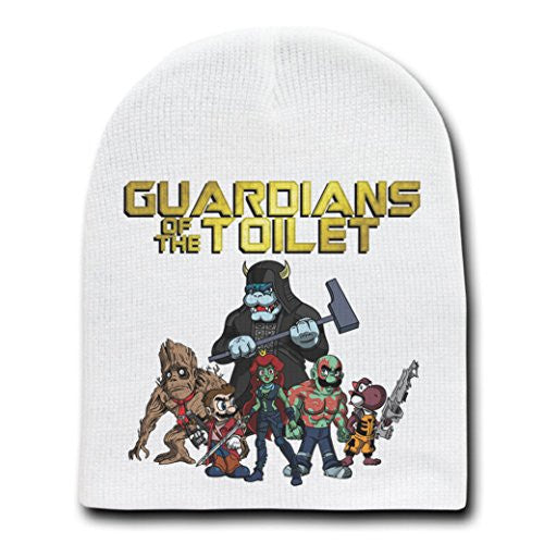 'Guardians of the Toilet' Funny Comic Parody - White Adult Beanie Skull Cap Hat