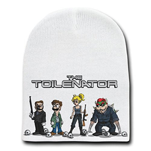 'The Toilenator' Funny Robot Movie Parody - White Adult Beanie Skull Cap Hat