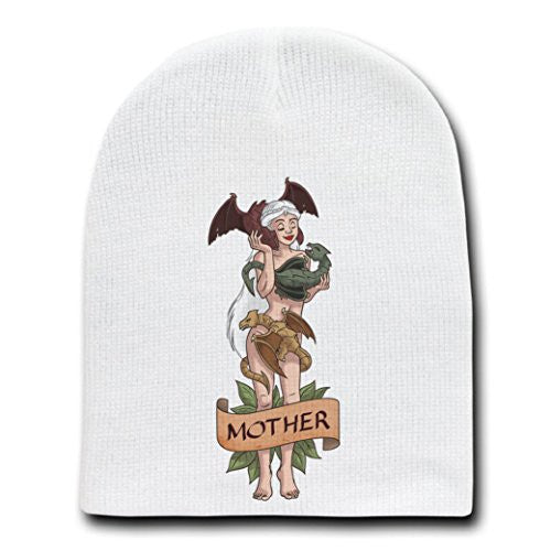 'Mother of Dragons' Medieval TV Show Parody - White Adult Beanie Skull Cap Hat