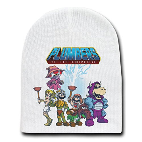 'Plumbers of the Universe' Funny Video Game Parody - White Adult Beanie Skull Cap Hat