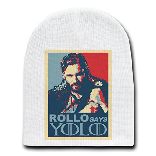 'ROLLO Says YOLO' Funny Norse TV Show Parody - White Adult Beanie Skull Cap Hat