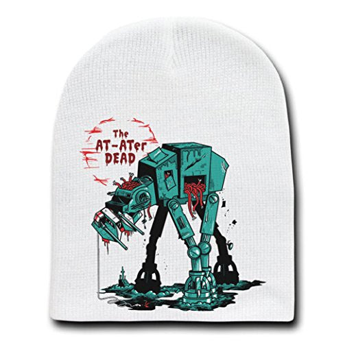 'The AT-ATer Dead' Funny Space Movie Parody - White Adult Beanie Skull Cap Hat