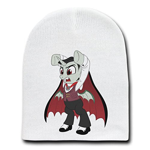 'Fangasus' Funny Animal Cartoon Parody - White Adult Beanie Skull Cap Hat