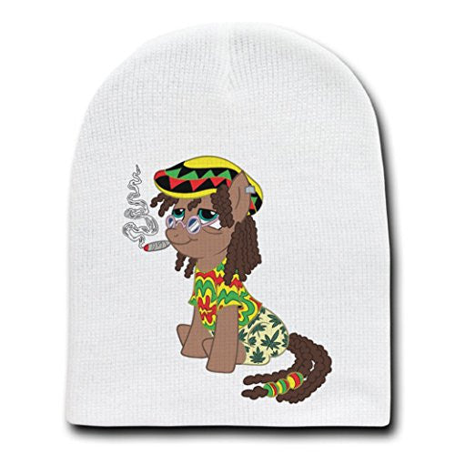 'Rasta Dooby' Funny Animal Cartoon Parody - White Adult Beanie Skull Cap Hat