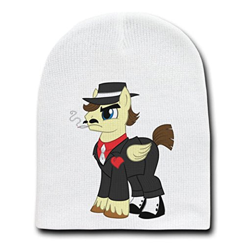 'Gangster Pony' Funny Animal Cartoon Parody - White Adult Beanie Skull Cap Hat