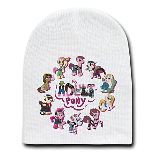 'My Adult Pony' Funny Animal Cartoon Parody - White Adult Beanie Skull Cap Hat