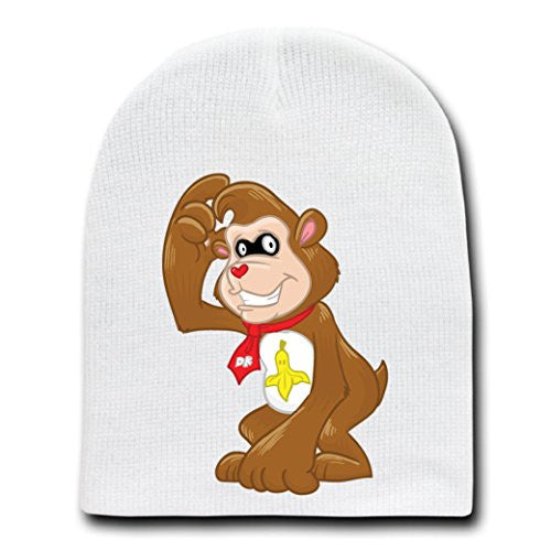 'Banana Kong Bear' Funny Video Game Parody - White Adult Beanie Skull Cap Hat