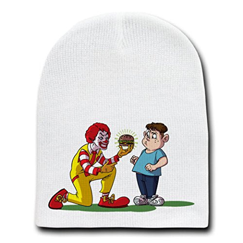 'Burger Temptation' Funny Fast Food Chain Parody - White Adult Beanie Skull Cap Hat