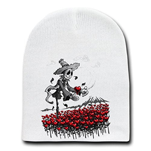 'Mr. Scarecrow Found His Heart' Classic Parody - White Adult Beanie Skull Cap Hat