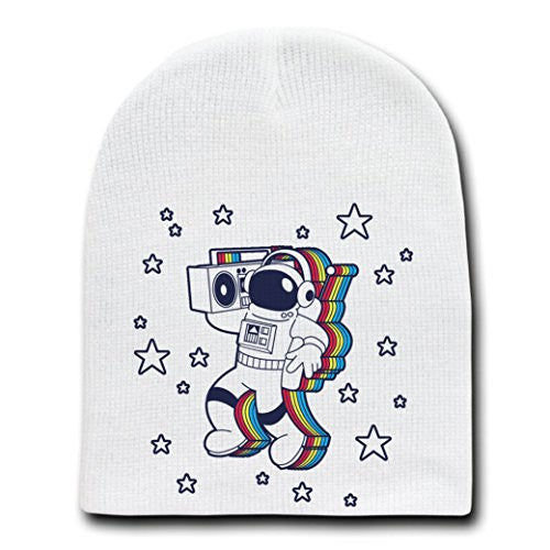 'Rockin Space Man' Astronaut w/ Boombox Colorful - White Adult Beanie Skull Cap Hat