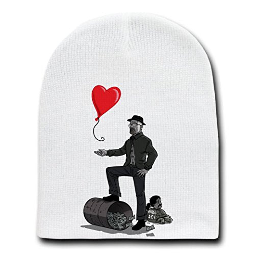 'Walt's Lost Heart' TV Show Parody B&W Edition - White Adult Beanie Skull Cap Hat