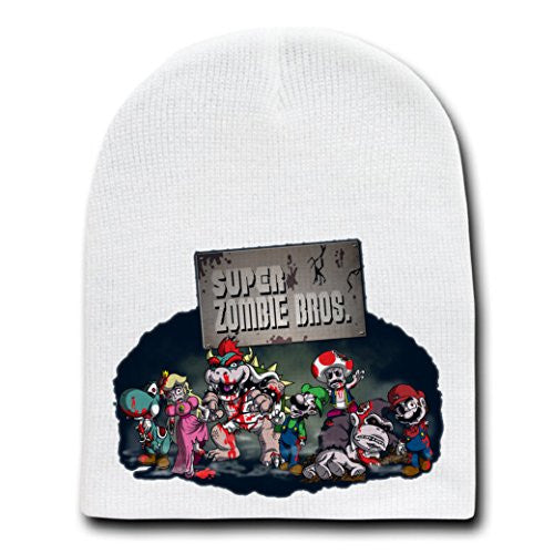 'Super Zombie Brothers' Classic Video Game Parody - White Adult Beanie Skull Cap Hat