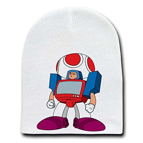 'Mushbot' Funny Movie & Video Game Parody - White Adult Beanie Skull Cap Hat