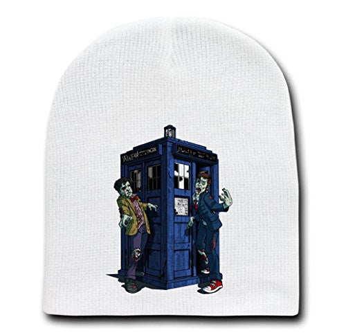 White Adult Beanie Skull Cap Hat - 'Doctor Zombies' TV Show Parody
