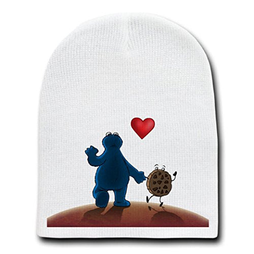 White Adult Beanie Skull Cap Hat - 'A Monster and His Cookie'