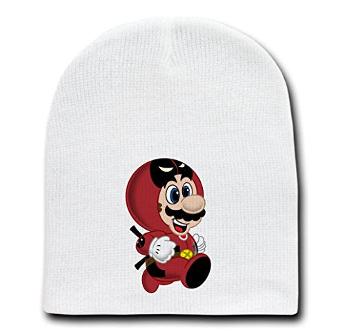 White Adult Beanie Skull Cap Hat - 'Deadplumber' Hero & Game Parody