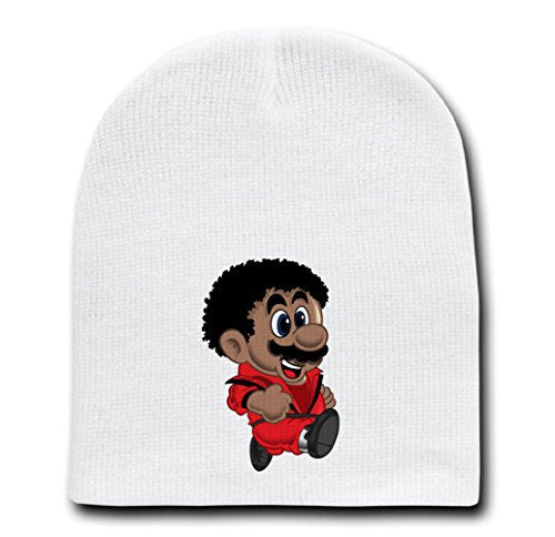 White Adult Beanie Skull Cap Hat - 'King of Plumbing' Singer & Game Parody
