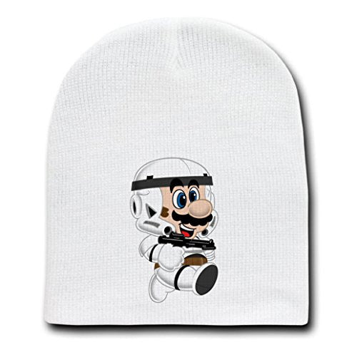 White Adult Beanie Skull Cap Hat - 'Plumbtrooper' Movie & Game Parody