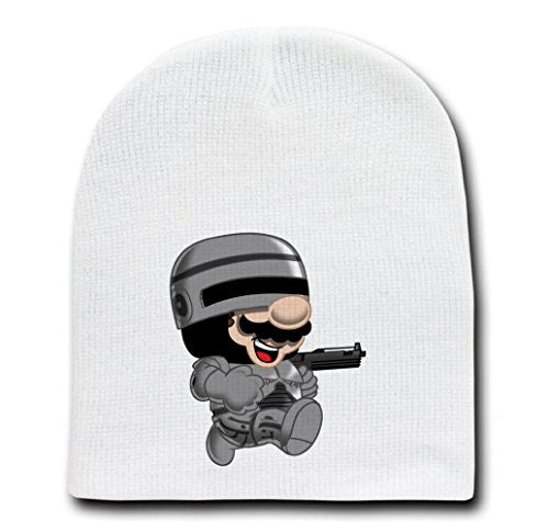 White Adult Beanie Skull Cap Hat - 'RoboPlumber' Movie & Game Parody