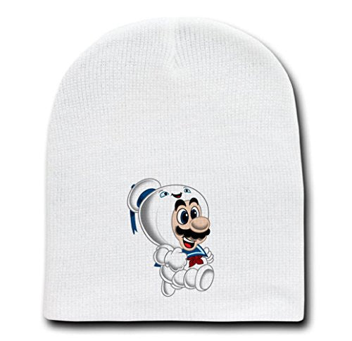 White Adult Beanie Skull Cap Hat - 'Stay Plump' Movie & Game Parody