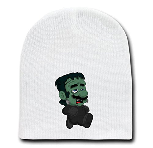 White Adult Beanie Skull Cap Hat - 'Frankenplumber' Movie & Game Parody