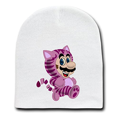 White Adult Beanie Skull Cap Hat - 'Crazy Eyes Plumber Cat' Game Parody