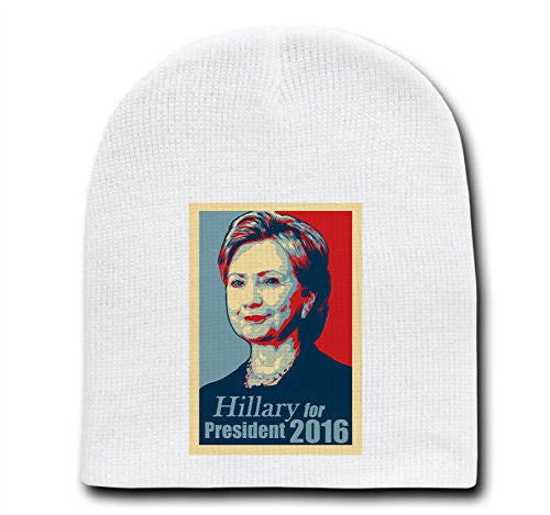 'Hillary For President 2016' - White Adult Beanie Skull Cap Hat