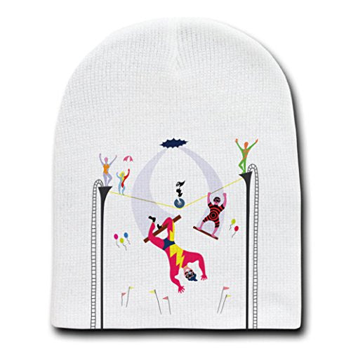 'Acrobats at Circus' Colorful Artwork - White Beanie Skull Cap Hat