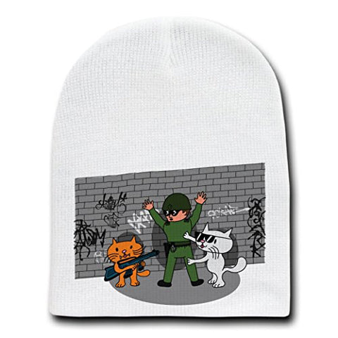 'Bad Cats w/ Cop' Funny Cartoon Tagged Brick Wall - White Beanie Skull Cap Hat