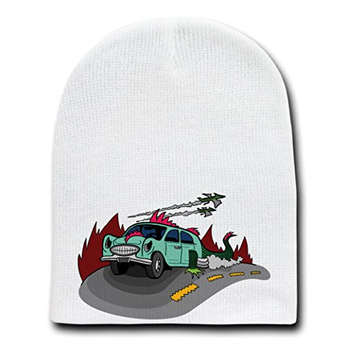 'Dino Car' Funny Dinosaur Lizard Car Cartoon - White Beanie Skull Cap Hat