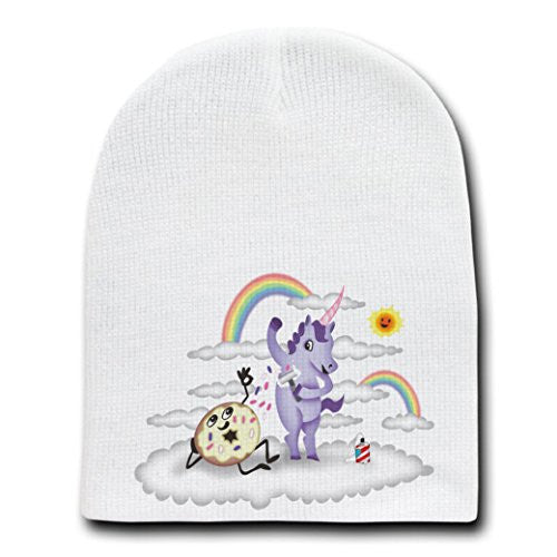 'Donut Unicorn Shaving in Clouds' Funny Cartoon Artwork-White Beanie Skull Cap/Hat