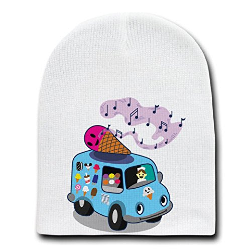 'Ice Cream Truck' Funny Ice Cream Cone Singing - White Beanie Skull Cap Hat