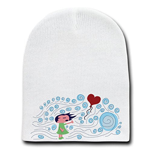 'Lost Heart' Cute Little Girl w/ Wind & Heart Balloon - White Beanie Skull Cap Hat