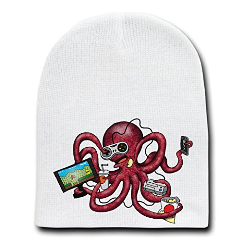 'More Tentacles to Party Octovideo'Octopus Playing Games-White Beanie Skull Cap/Hat
