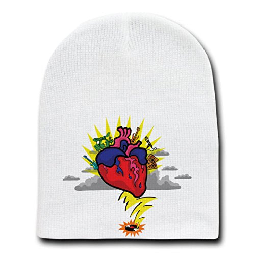 'Rock N Roll Heart' w/ Guitar & Drums Cartoon - White Beanie Skull Cap Hat