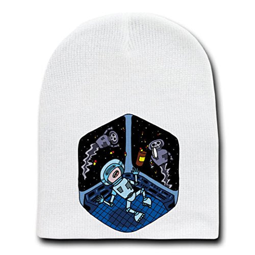 'Space Pills' Funny Astronaut Aliens Popping Pills - White Beanie Skull Cap Hat