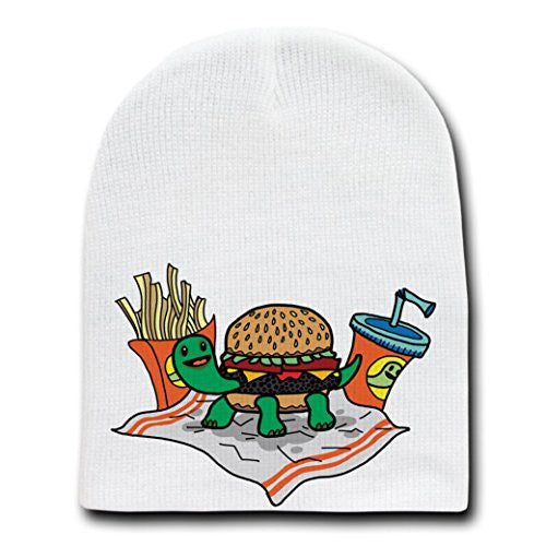 'Turtle Burger'Turtle Shell Bun Burger w/Fries Meal-White Beanie Skull Cap/Hat