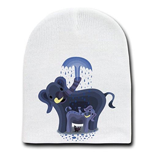 'Elephant Showers' Cute Mom & Baby Trunk Squirting - White Beanie Skull Cap Hat