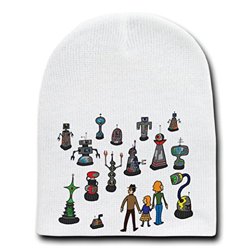 'My Robot Family' Funny British TV Show Parody - White Beanie Skull Cap Hat